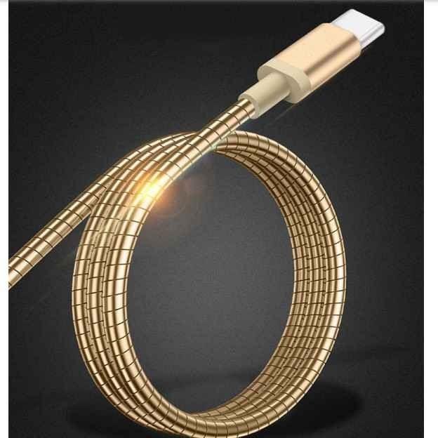 تصویر کابل شارژ روکش فلزی تایپ سی Type-C Gold