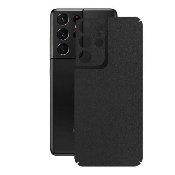 تصویر برچسب پوششی راک اسپیس طرح  Leather-BK مناسب برای گوشی موبایل  سامسونگ  Galaxy S21 Ultra