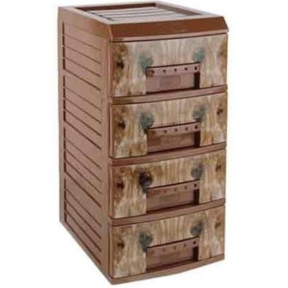 دراور 4 طبقه هوم کت مدل آریا طرح چوب  