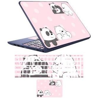 تصویر استیکر لپ تاپ مدل پاندا کوچولوی خنگ مناسب برای لپ تاپ 17 اینچ به همراه برچسب حروف فارسی کیبورد