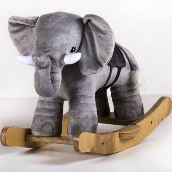 راکر چوبی پولیشی کودک طرح فیل   Wooden rocker polished baby elephant clever wa design