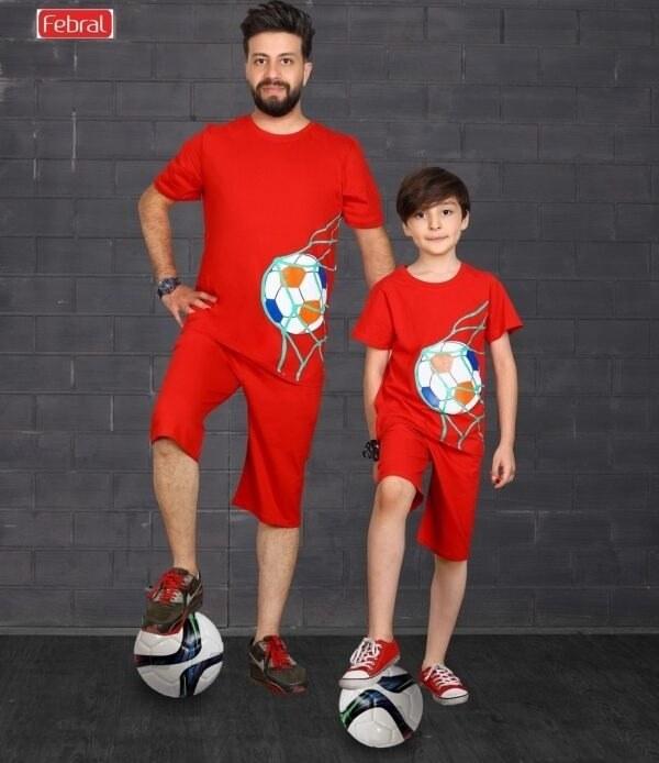 تصویر ست تی شرت و شلوارک راحتی پسرانه مادر مدل اسکوپی-قرمز