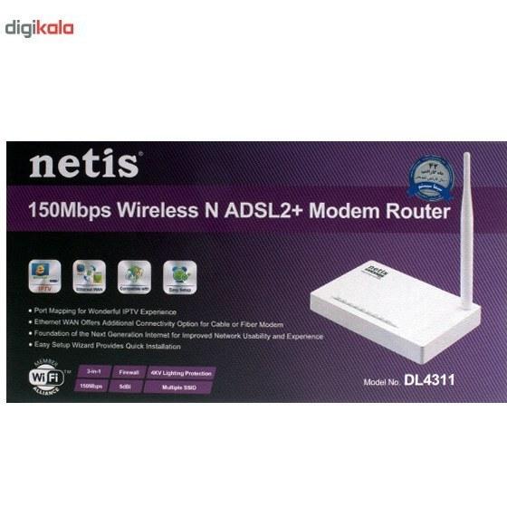 تصویر مودم روتر بیسیم N150 نت ایز مدل DL4311 Netis DL4311 Wireless N150 Modem Router