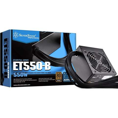 تصویر منبع تغذیه کامپیوتر سیلور استون SST-ET550-B SilverStone Essential Series SST-ET550-B 550W ATX12V 80 PLUS BRONZE Computer Power Supply