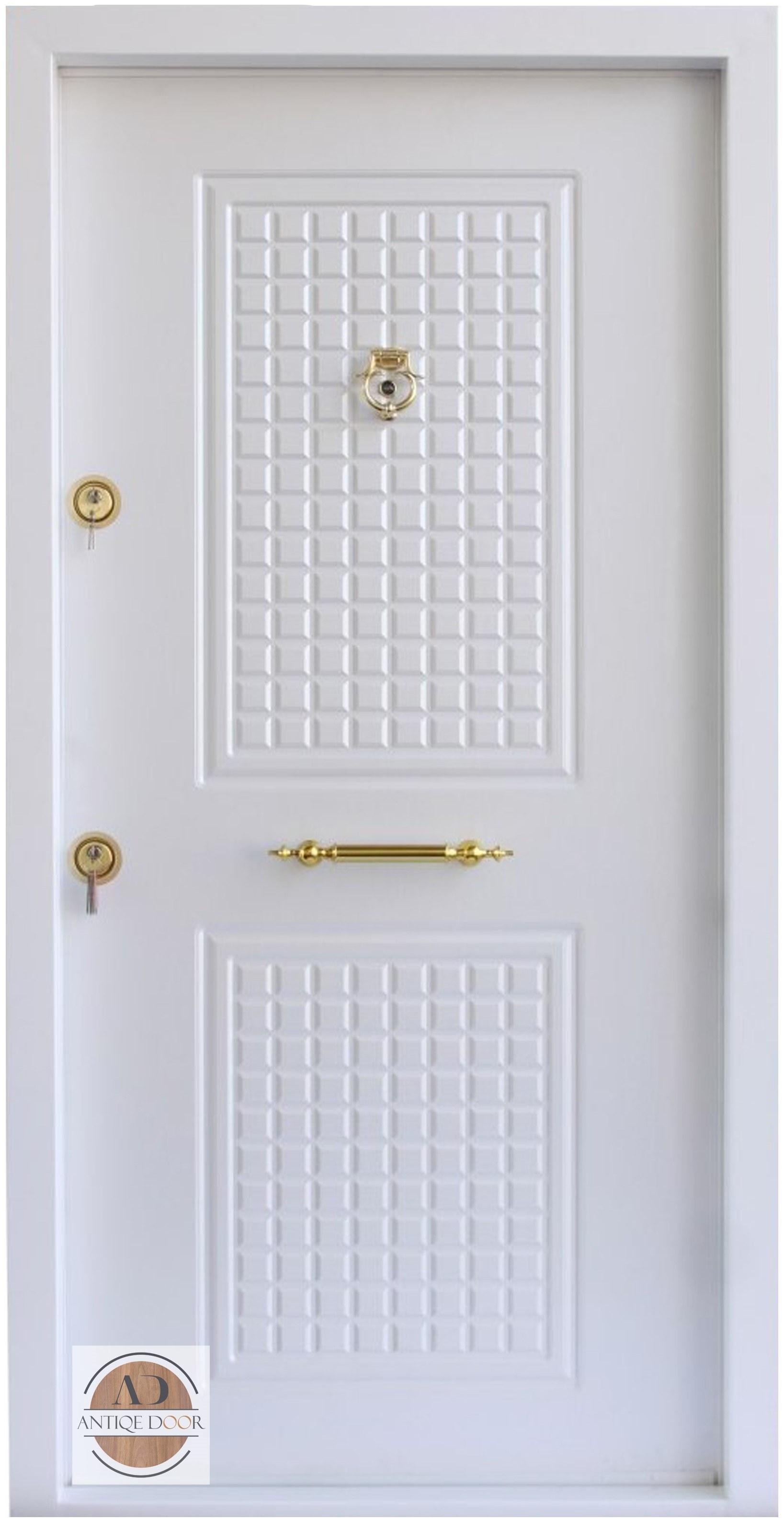 تصویر درب ضد سرقت دوقاب روکش پی وی سی سفید - 105*210 / راست بازشو