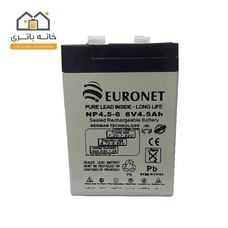 باتری سیلد اسید 6 ولت 4.5 آمپر یورونت euronet
