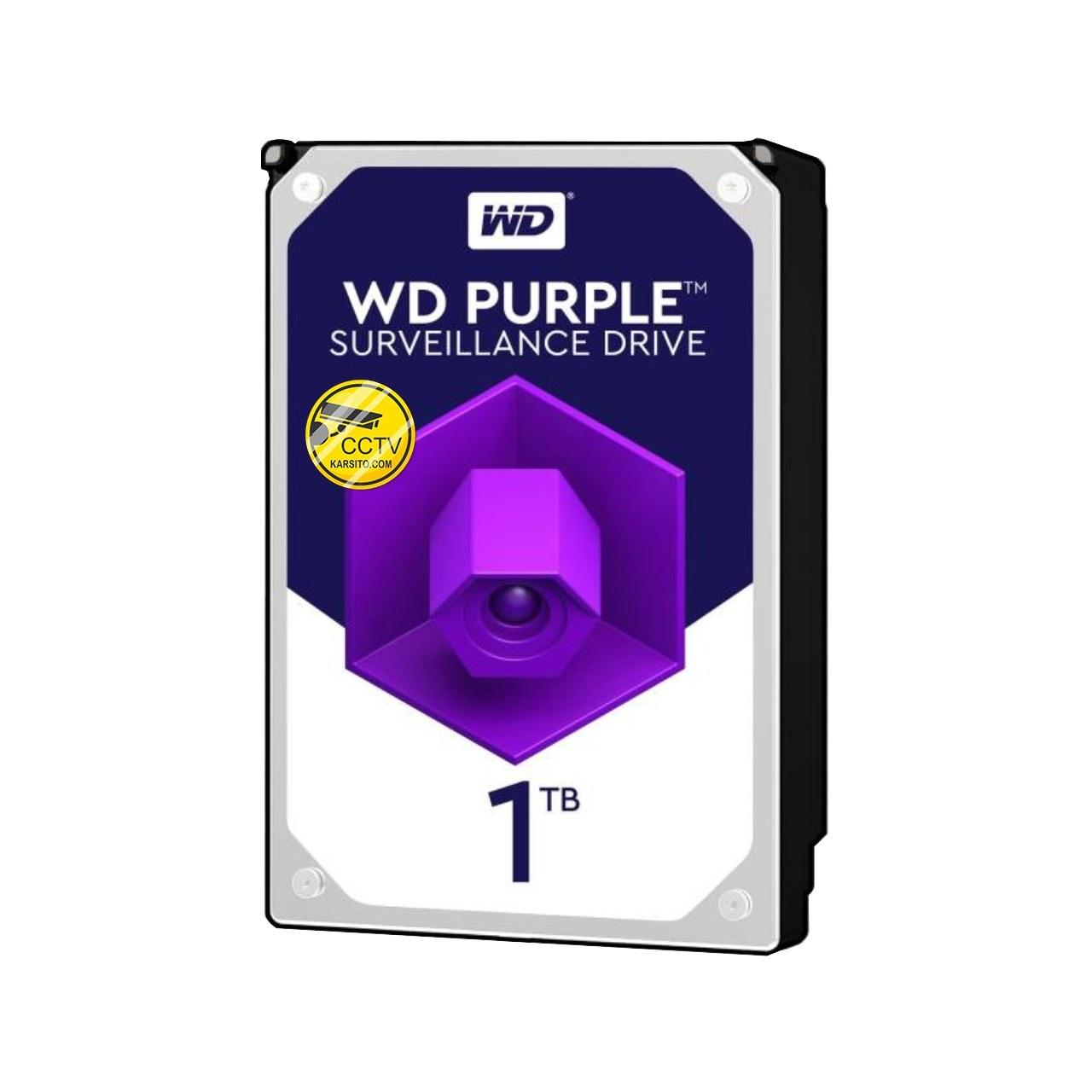 تصویر هارددیسک اینترنال وسترن دیجیتال مدل Purple Surveillance WD10PURZ ظرفیت 1 ترابایت Western Digital Purple WD10PURZ 1TB Internal Hard Disk