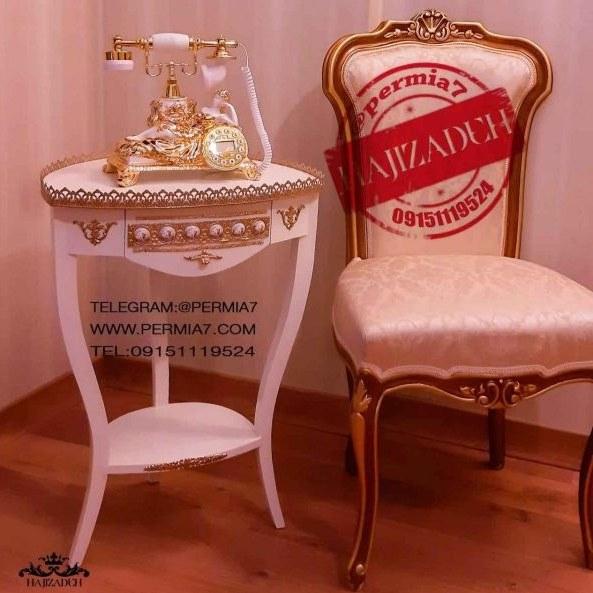 نگین میز  تلفن چوبی طرح ایتالیا زه دار سفید   1880