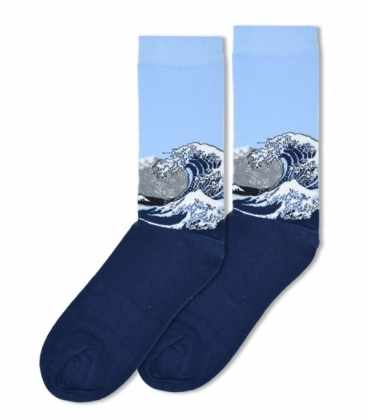 جوراب ساقدار Ekmen طرح موج عظیم کاناگاوا سرمهای |