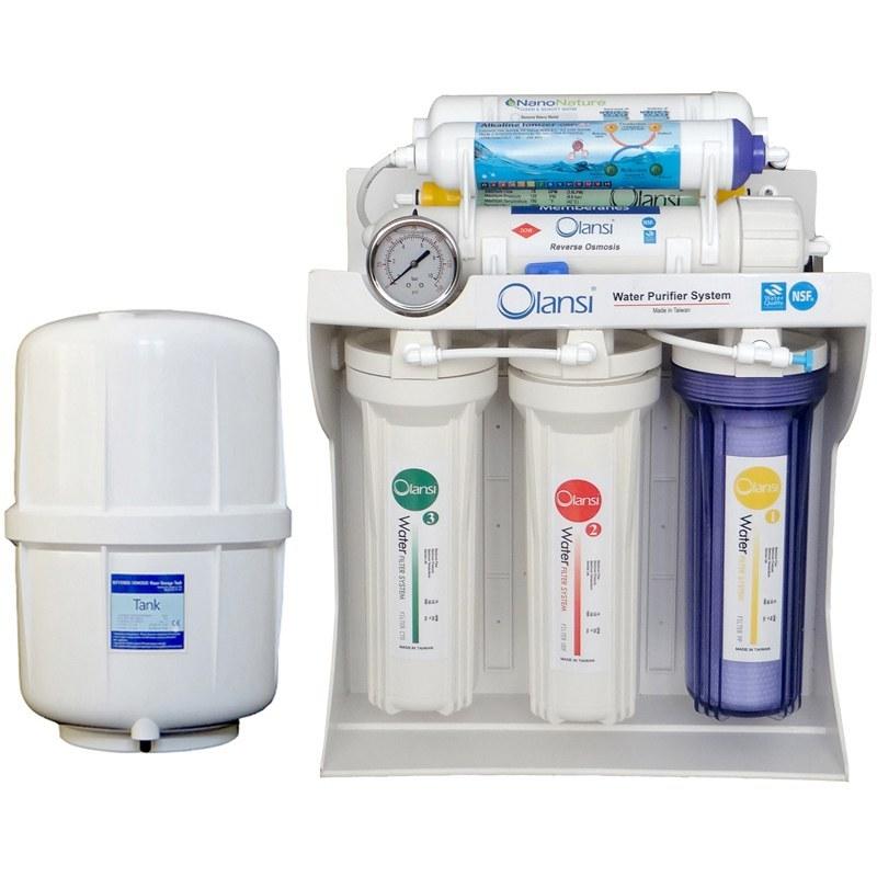 دستگاه تصفیه آب خانگی ۱۰ مرحله ای اولانسی مجهز به نانو گیاهی- قلیایی یونایزر  با روش اسمزمعکوس مدل RO-NATURE1480 |