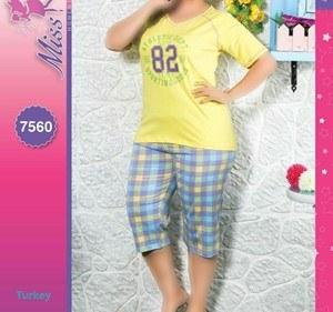 تی شرت  شلوارک سایز بزرگ زنانه ترک - 7560 Miss Tiko |