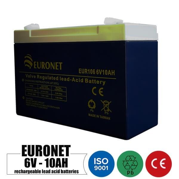 تصویر باتری شارژی 6 ولت 10 آمپر EURONET مدل EUR106 Rechargeable battery 6 volt 10 Amps EURONET EUR106 model