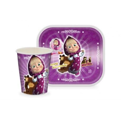 تصویر تم تولد میشا و ماشا دخترانه به رنگ بنفش