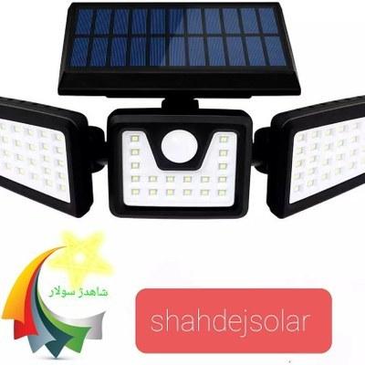 تصویر چراغ خورشیدی دیوارکوب سه سر