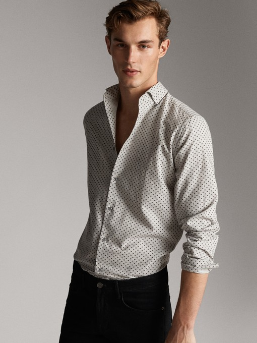 پیراهن آستین بلند ماسیمو دوتی با کد 0120/136/710 ( SLIM FIT POLKA DOT COTTON SHIRT ) | پیراهن آستین بلند مردانه ماسیمو دوتی