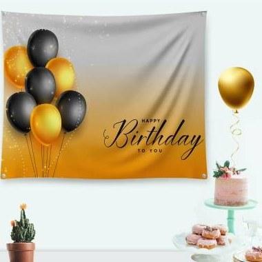 تصویر بنر جشن و تولد gold birthday