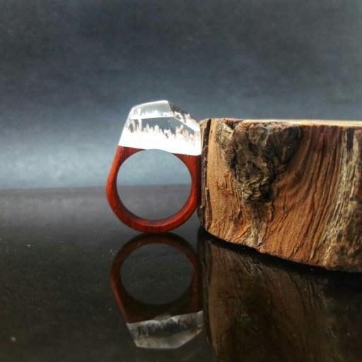 انگشتر چوب و رزین شبتاب |
