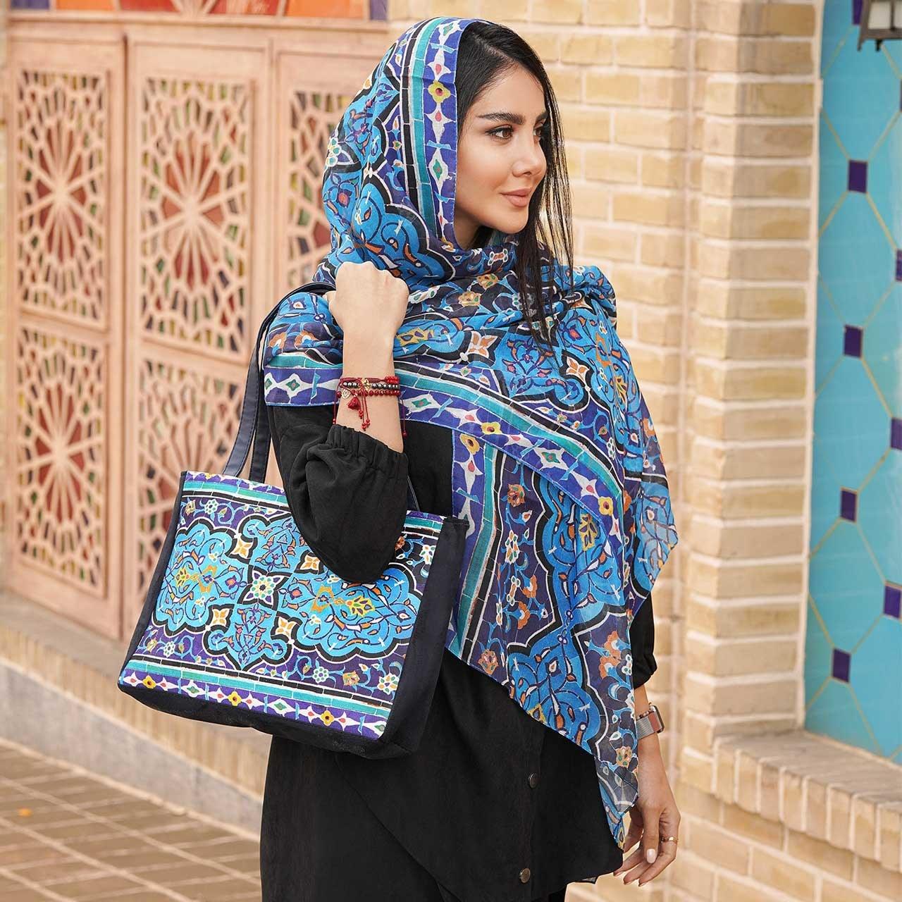تصویر ست کیف و شال زنانه بهار کد 06 Bahar Women  Bag  and  Shawl  Set Code 06