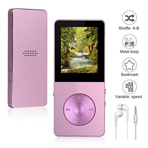 تصویر Mp3 Player Widon 8GB Music Player Built-in Speaker HiFi Shuffle A-B Playback Bookmark Variable Speed Metal Body FM Radio Voice Recorder Gift for Kids Language Learning Pink3