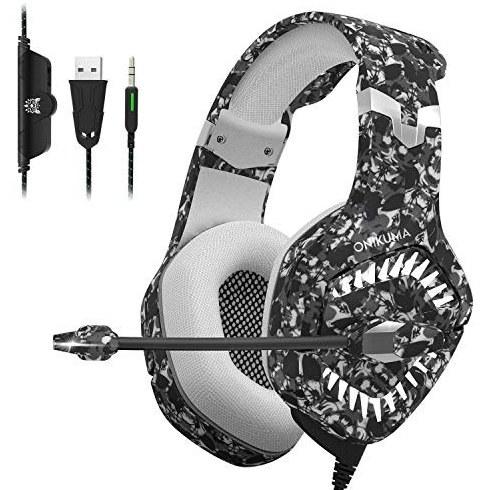 تصویر هدست بازی ONIKUMA Pro با میکروفون بدون سر و صدا (جهانی) پشتیبانی از کامپیوتر ، PS4 ، Xbox ، Switch Video Game Play   7.1 صدای استریو Surround Sound ، فنجان های گوش حافظه CAMO