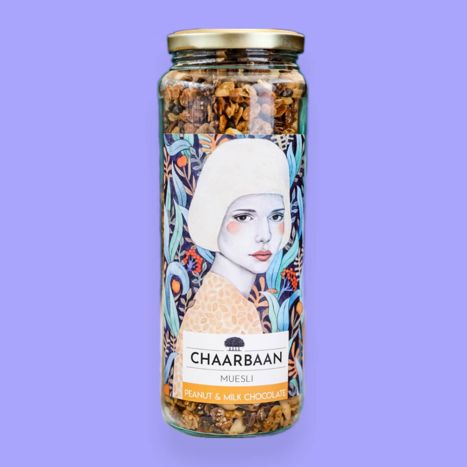 تصویر موسلی بادام زمینی و شیرشکلات چاربان وزن 380 گرم Chaarbaan peanut & chocolate milk Muesli 380gr
