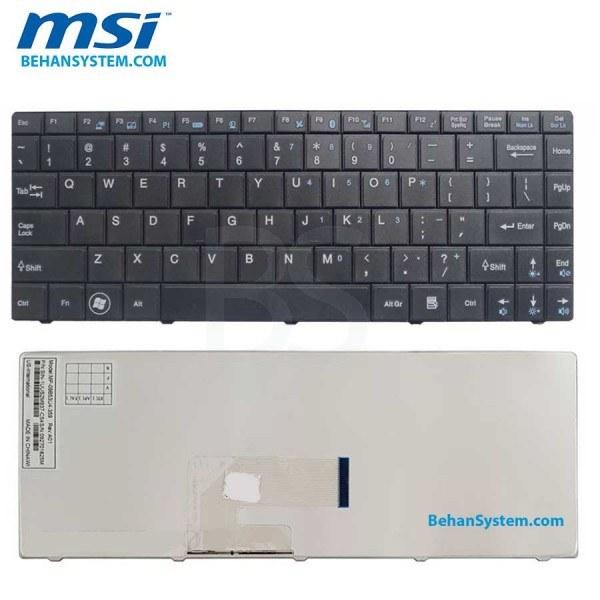 تصویر کیبورد لپ تاپ MSI سری U200 به همراه لیبل کیبورد فارسی جدا گانه