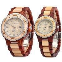 تصویر ساعت ZS-100B زرق و برق جواهرات کوارتز چوبی مردان و زنان دستباف سبک وزن نمایش ساعت های مد