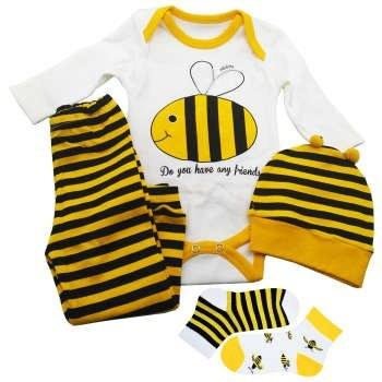 ست 4 تکه لباس نوزادی طرح زنبور مدل vcf60