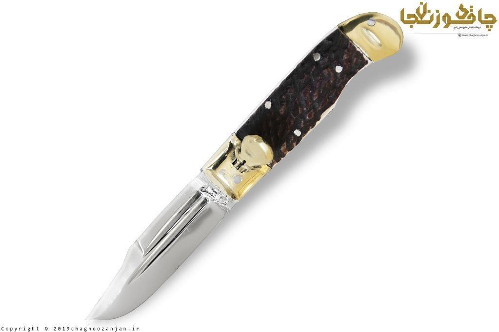 چاقو فشاری دسته استخوان ضدزنگ
