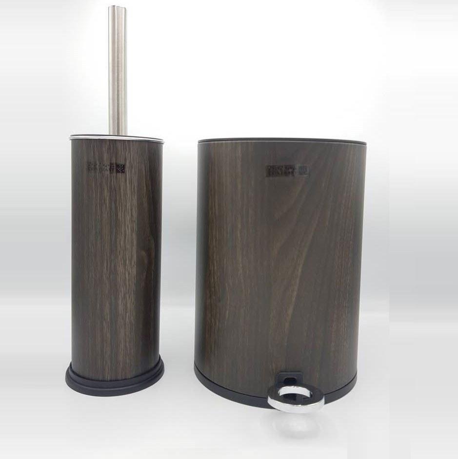 تصویر ست سطل زباله و فرچه دستشویی کنتراست مدل 6841 طرح چوب