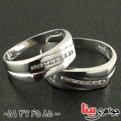 انگشتر نقره ست حلقه ازدواج روکش پلاتین _کد:۱۵۸۷۱ |