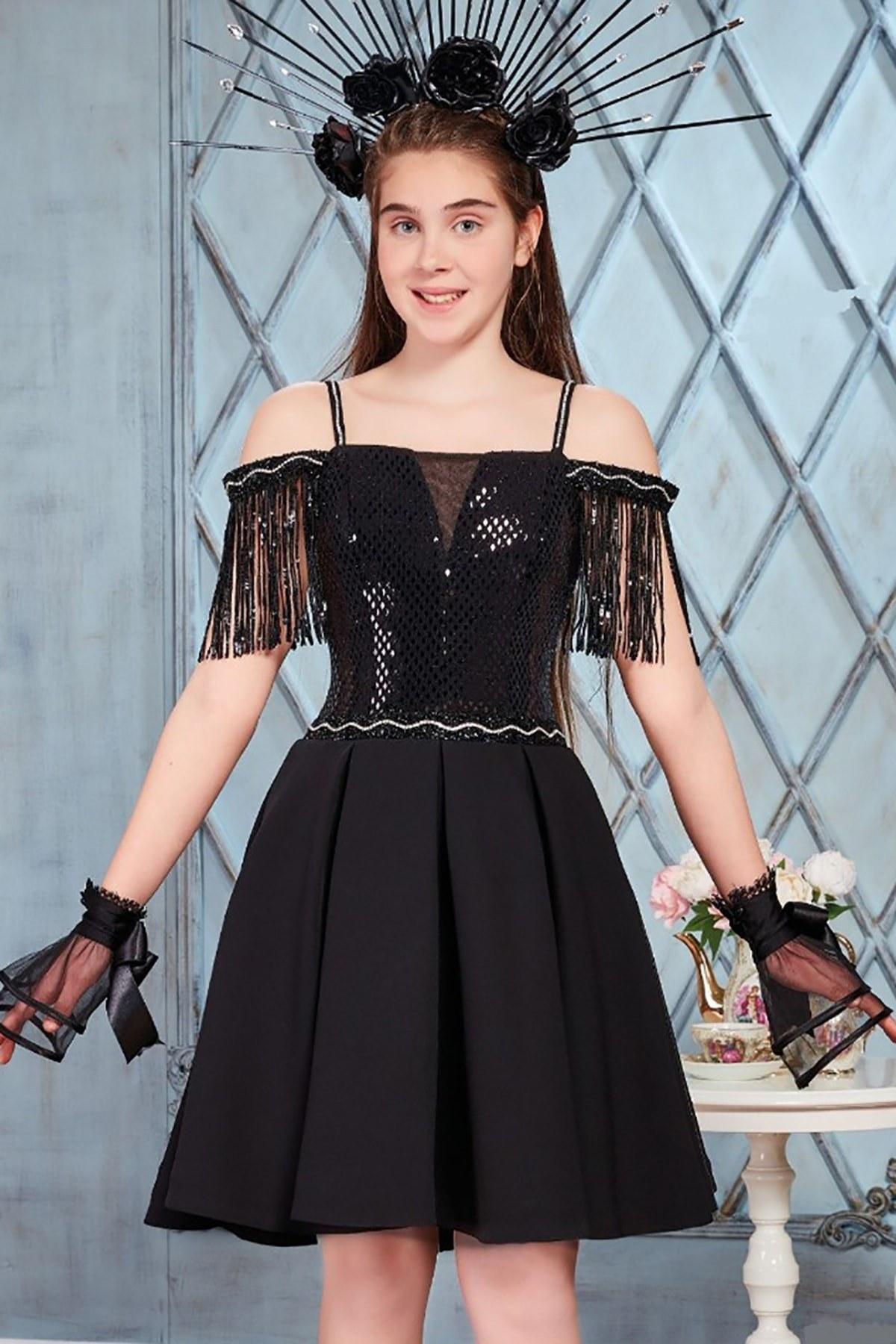 تصویر لباس مجلسی دخترانه با قیمت برند meneviş رنگ مشکی کد ty39581033
