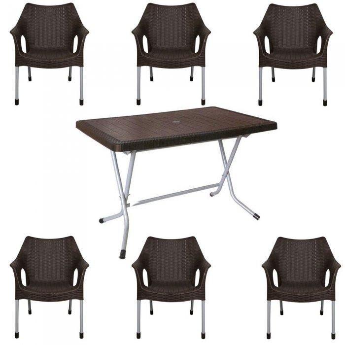 تصویر ست میز و صندلی 6 نفره حصیر بافت ناصر پلاستیک کد 521 991
