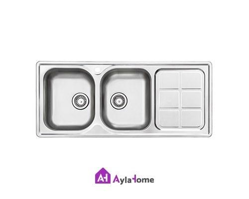 تصویر سینک ظرفشویی توکار استیل البرز Steel Alborz Double Bowl Sink 215