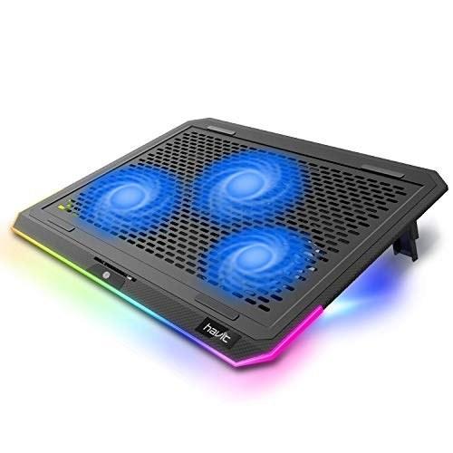 تصویر پد خنک کننده لپ تاپ havit RGB برای لپ تاپ 15.6-17 اینچی با 3 فن و کنترل لمسی آرام ، کولر قابل حمل پانل فلزی خالص (قرمز)