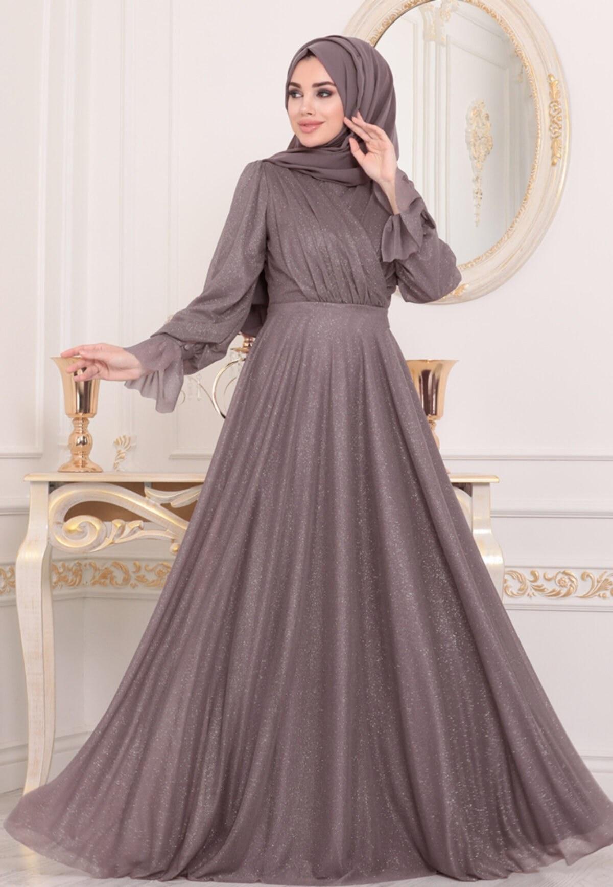 تصویر لباس مجلسی محجبه زنانه بنفش برند Neva Style کد 1617735842
