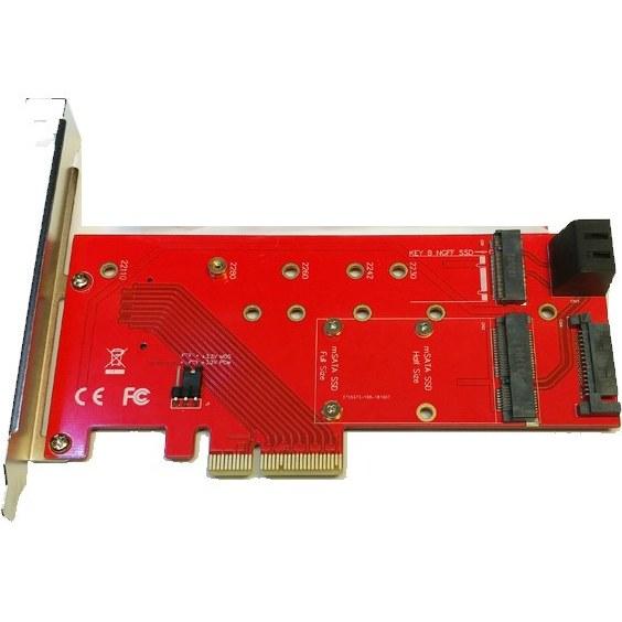 تصویر کارت تبدیل PCI-E به M.2 از نوع M-KEY و B-KEY و mSATA + دو پورت SATA 6GB