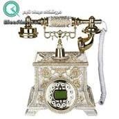 تصویر تلفن رومیزی سلطنتی آرنوس رنگ کرم طلایی مدل 031AWG