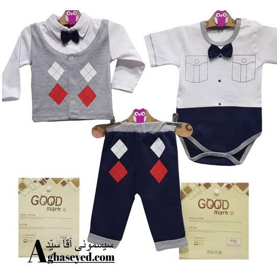 تصویر ست 3 تکه لباس نوزادی گودمارک طرح جلیقه کد00210008