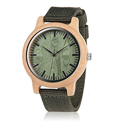 تصویر BOBO BIRD ساعت چوبی بامبو Unisex برای مردان و زنان ساعتهای گاه به گاه دست ساز سبک و سنگین کوارتز سبک آنالوگ با بند نایلون سبز