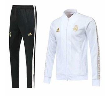 ست ورزشی گرمکن شلوار رئال مادریدتمام زیپ رنگ سفید طلایی 2020