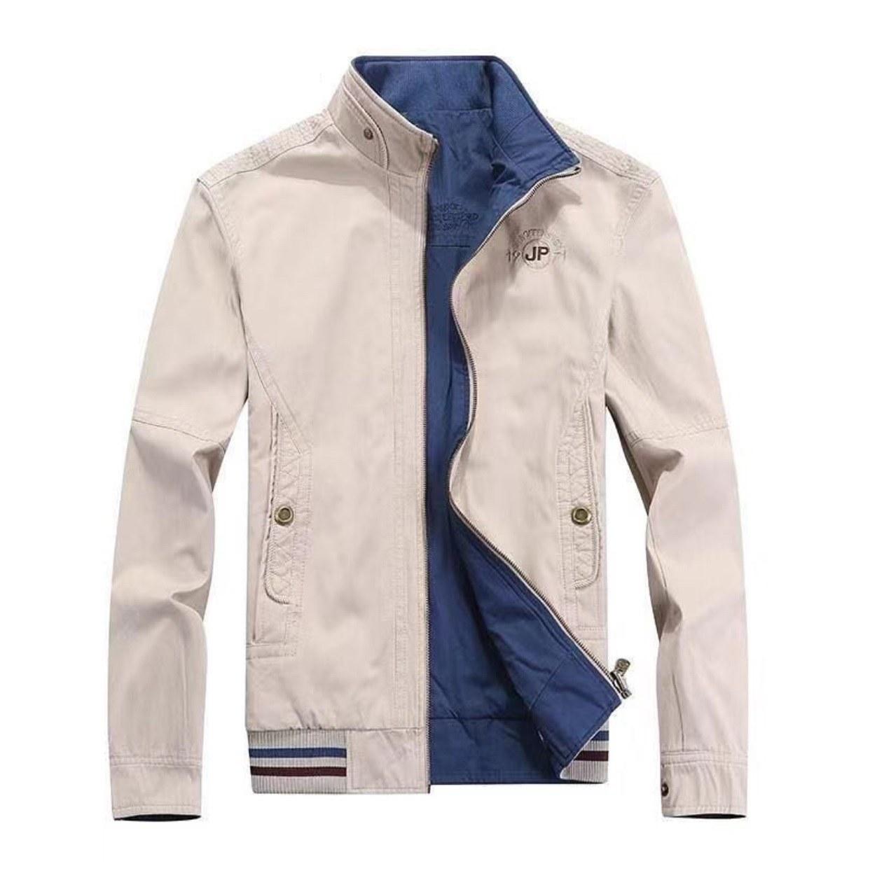 کاپشن کتان مردانه دورو مارک جیپ سفید آبی