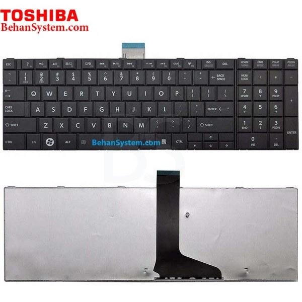 تصویر کیبورد لپ تاپ Toshiba مدل Satellite C850 به همراه لیبل کیبورد فارسی جدا گانه