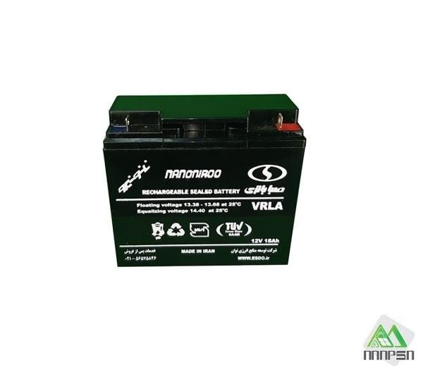 تصویر باتری شارژی 12 ولت 18 آمپر SABA مدل VARLA Rechargeable battery 12 volt 18 Amps SABA model VARLA