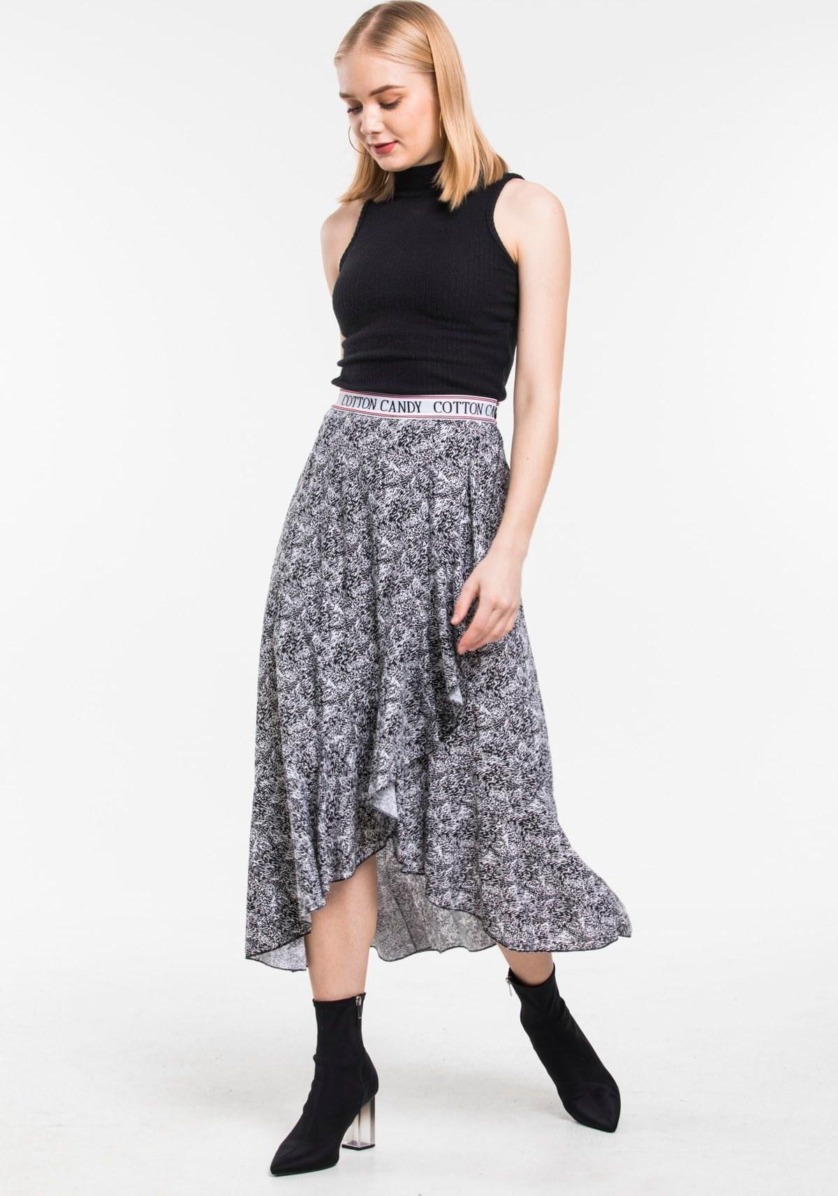 تصویر دامن شیک زنانه برند QE&QE رنگ مشکی کد ty59803759