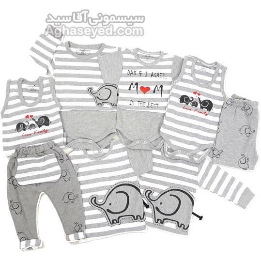 لباس تکه ای نوزادی طرح فیل کد00201365