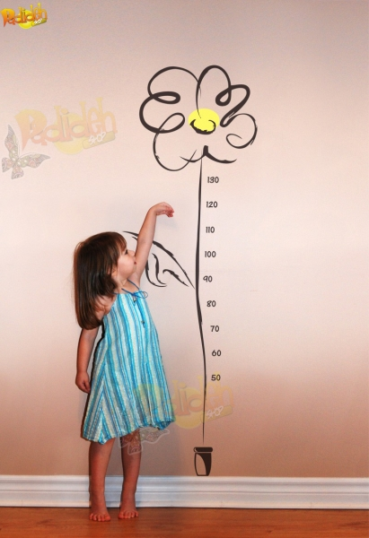 تصویر استیکر اندازه گیری قد طرح گل آفتاب