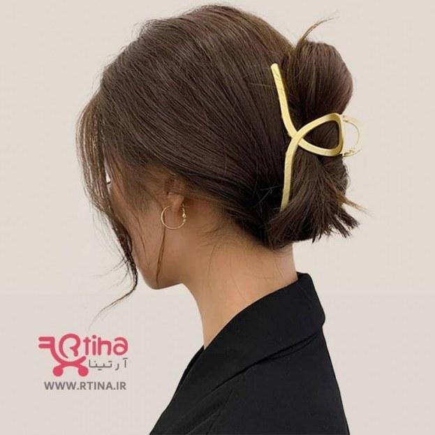تصویر کلیپس فلزی بزرگ روی مو/ زنانه (آبکاری طلایی)