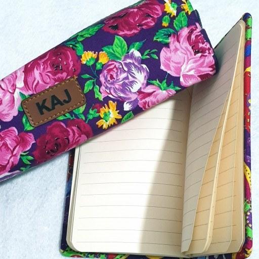 ست دفتریادداشت و جامدادی گلگلی فانتزی   ست دفتر یادداشت و جامدادی گل گلی طرح بنفش