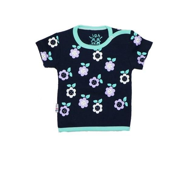 تی شرت دخترانه آستین کوتاه لایت طرح گل سرمه ای
